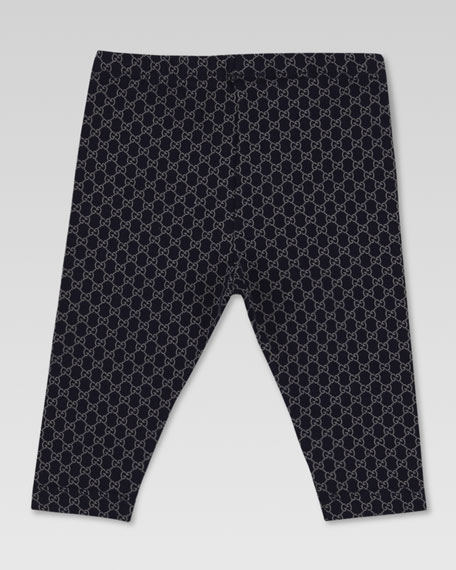 Mini GG-Print Leggings, Navy/Gray