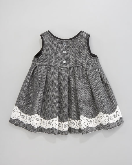 Herringbone Lace-Trim Dress
