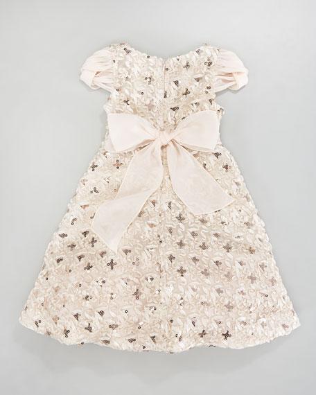 Sequined Chiffon-Sleeve Dress