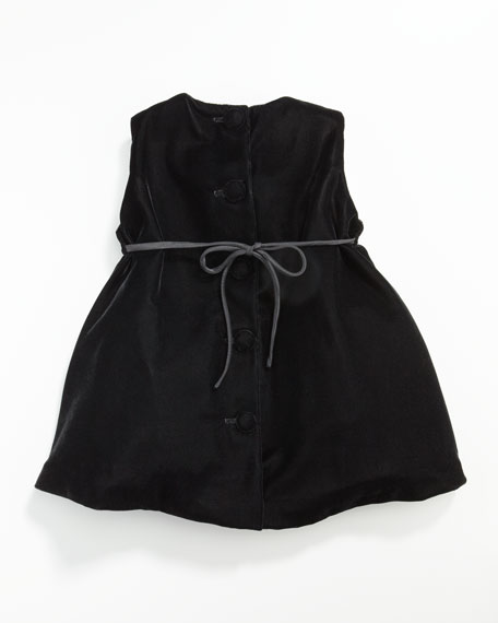 Velvet Pleat-Front Dress, 12-24 Months
