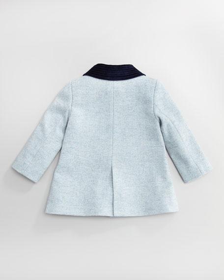 Velvet-Trim Tweed Coat, Girl's