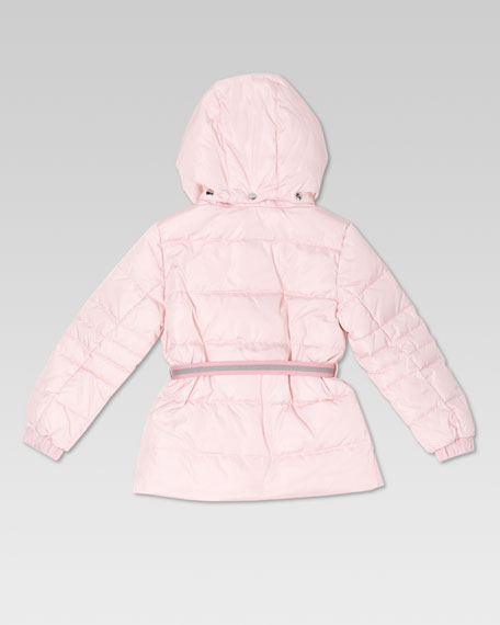 Waterproof Quilted Belted Jacket, Candy Pink