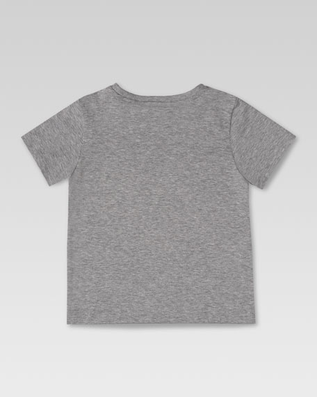 Gucci Script Tee, Light Gray/Red