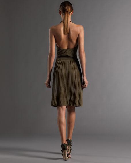 Plisse Knit Halter Dress