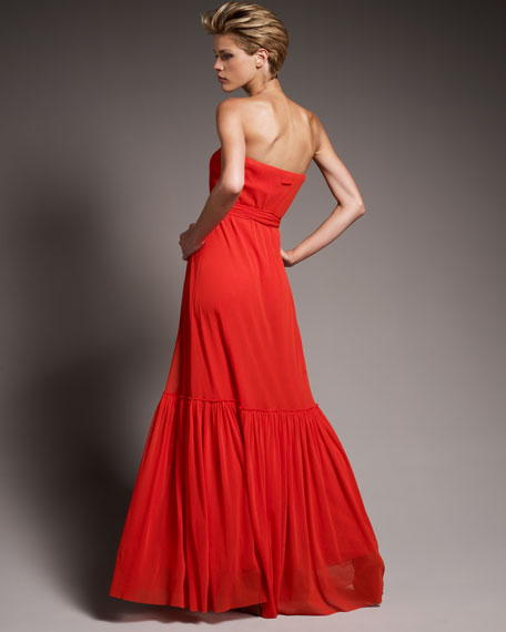 Strapless Tulle Maxi Dress