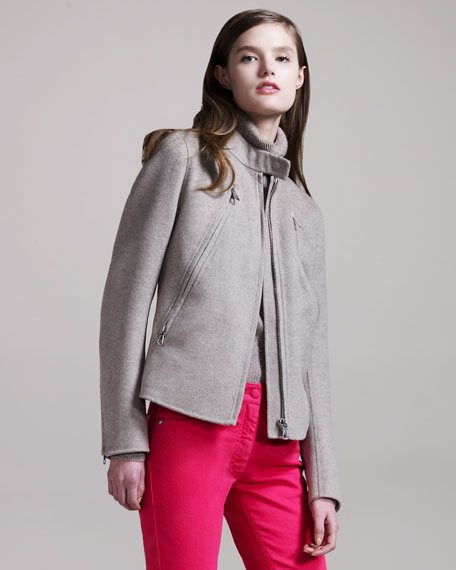 Five-Zipper Cashmere Jacket