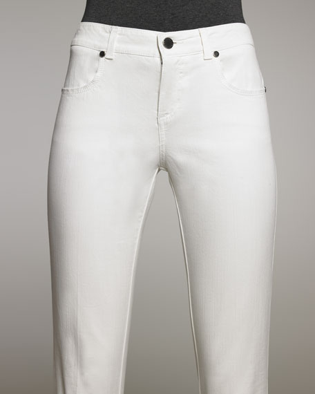 Cropped Skinny Jeans, Cream