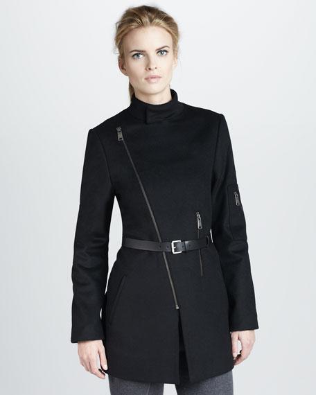 Asymmetric Zip-Front Jacket, Black