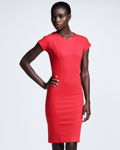 Cap-Sleeve Jersey Sheath Dress