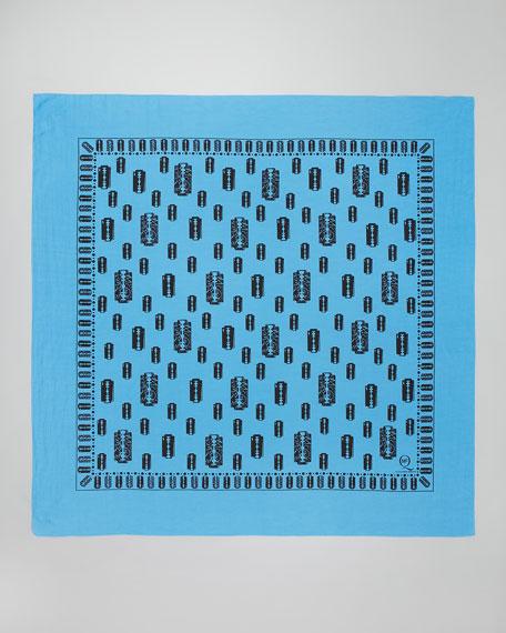 Razor Blade-Print Scarf, Blue/Black