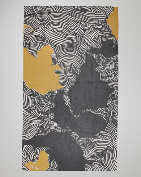 Swirl-Print Chiffon Scarf