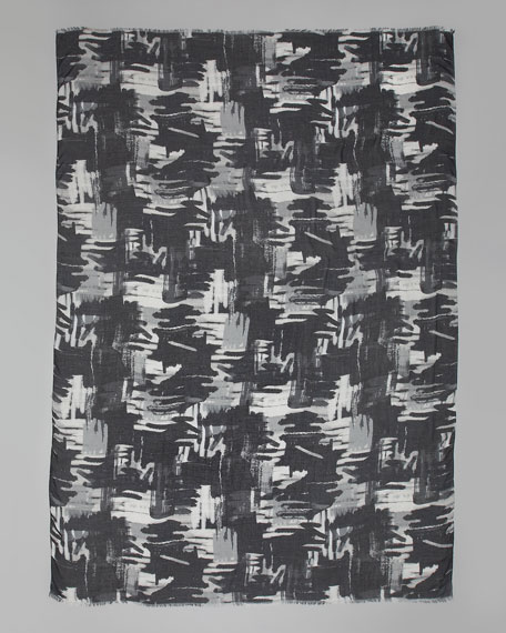 Brushstroke Grid-Print Scarf, Black Multicolor