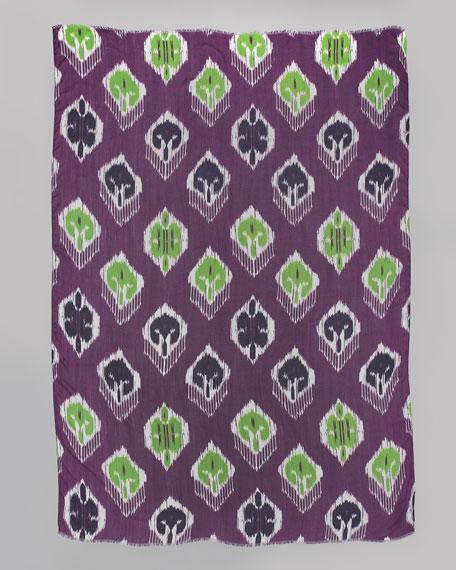Ikat-Print Scarf, Amethyst