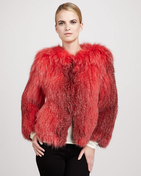 Knitted Fox Fur Crewneck Jacket, Coral