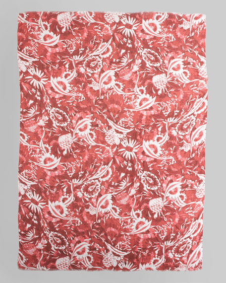 Floral Ceramic Printed Scarf, Red