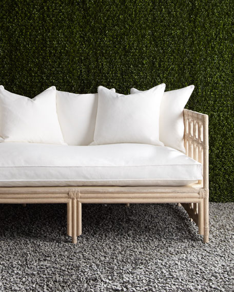 White Faux-Bamboo Outdoor Sofa