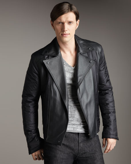 Nylon-Leather Biker Jacket
