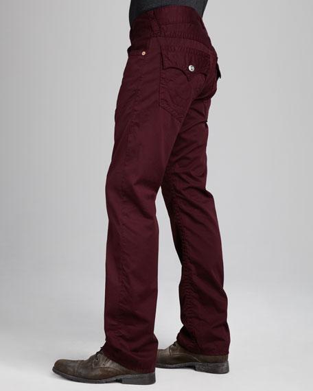 Ricky Five-Pocket Twill Pants, Plum