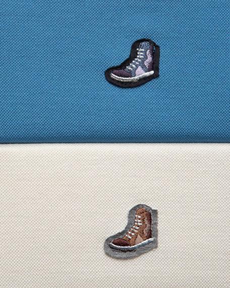 Sneaker-Logo Jersey Polo, Ecru