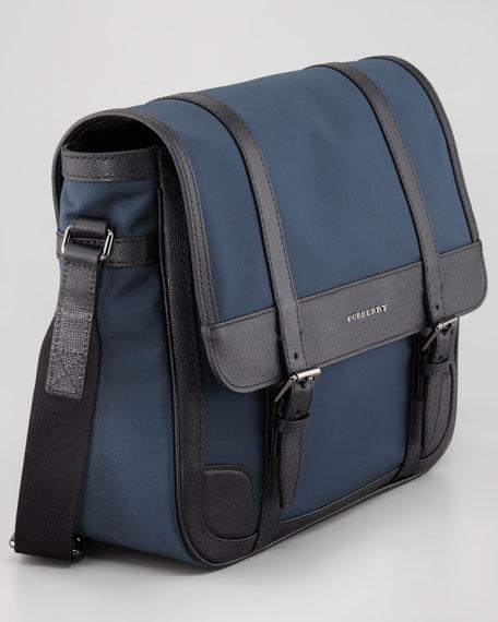 Leather-Trim Nylon Messenger Bag