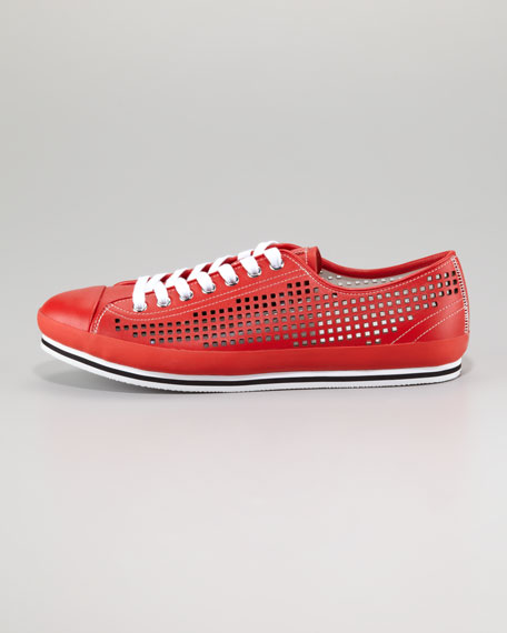 Perforated Low Sneaker, Red