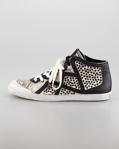 Snake-Embossed Hi-Top Sneaker