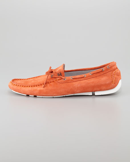 Suede Driving Shoe, Orange
