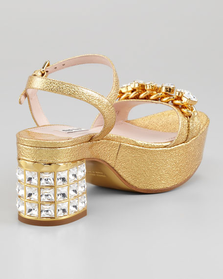 Jeweled Metallic Leather Mid-Heel Sandal