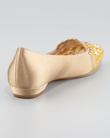 Satin and Lace Embellished Smoking Slipper, Gold