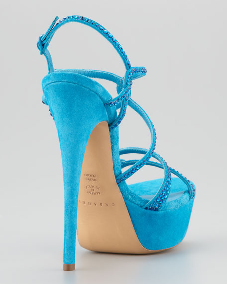 Strappy Crystal Suede Sandal, Ocean
