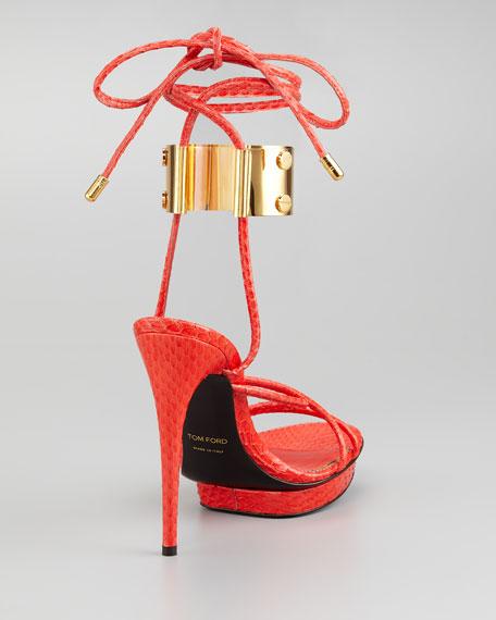 Brass Ankle-Wrap Snakeskin Platform Sandal
