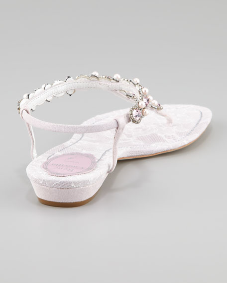 Beaded Lace-Detail Thong Sandal