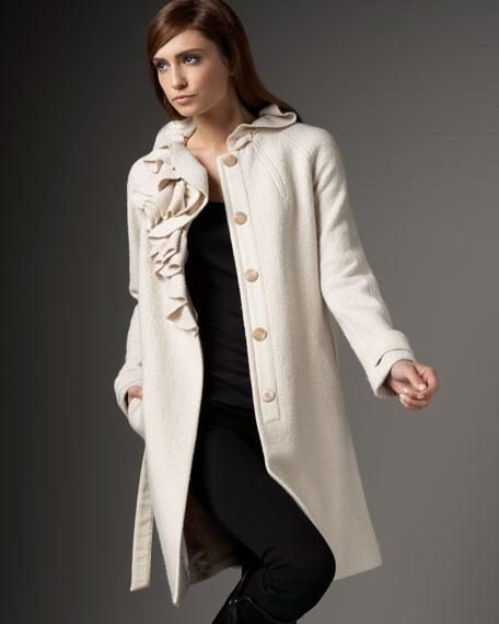 Belted Ruffled Boucle Coat