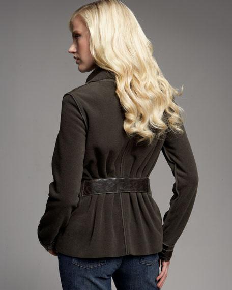 Fleece Ruffle-Front Jacket