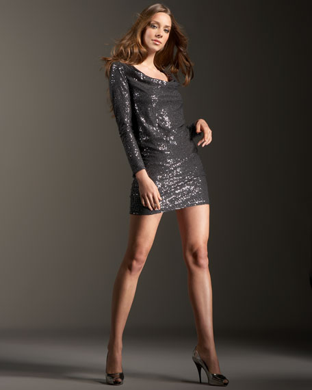 Sequined Cowl-Neck Dress