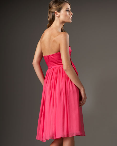 Strapless Bow-Front Silk Dress