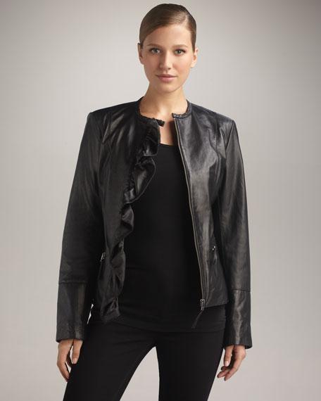 Ruffle-Front Leather Jacket