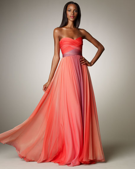 Ombre Ruched Gown