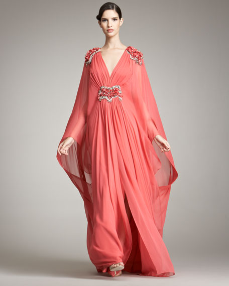 Plunging-V Caftan Gown