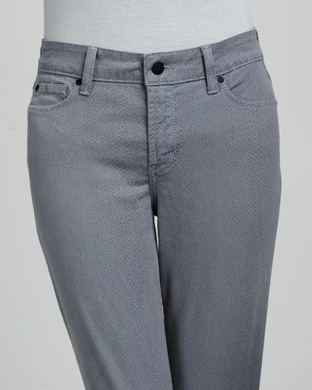 Audrey Lizard-Print Ankle Pants, Blue