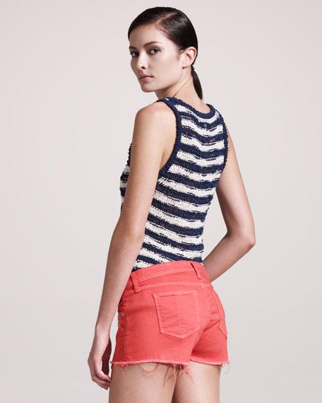 The Mila Vermillion Denim Shorts