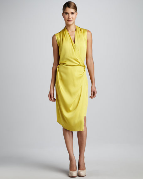 Sleeveless Silk Wrap Dress