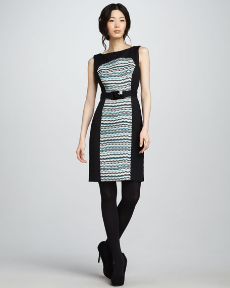Fiona Pattern-Panel Dress, Teal