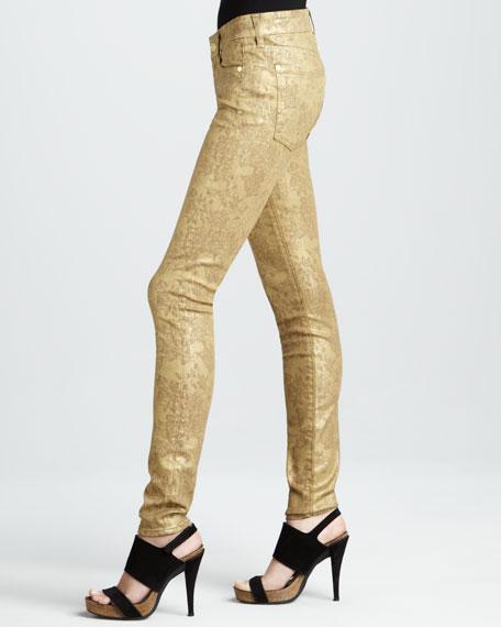 Skinny Gold Metallic Floral-Print Jeans