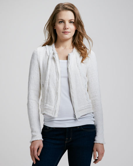 Tweed Zip-Front Jacket
