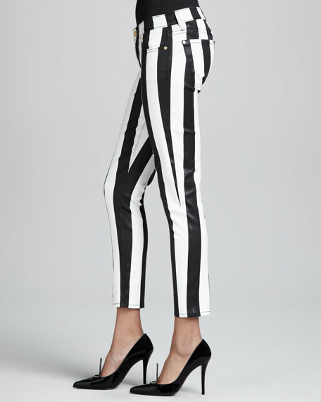Striped Cropped Cigarette Pants