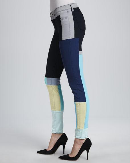 619 Super Skinny Colorblock Jeans