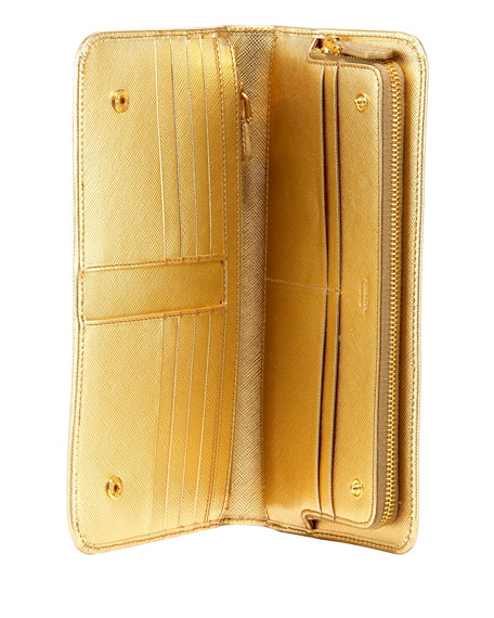 Saffiano Leather Large Snap Wallet