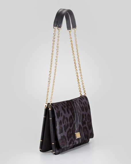 Miss Giusy Leopard-Print Calf Hair Shoulder Bag