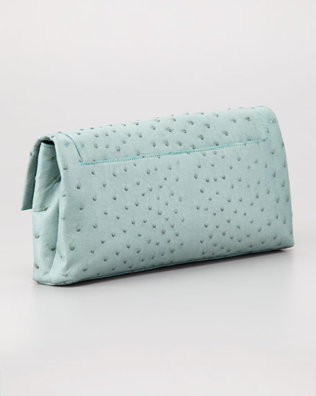 Ostrich Clutch Bag, Blue